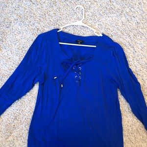 Tops - Royal blue long sleeve tee with silver grommets